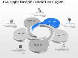 Five Staged Business Process Flow Diagram Powerpoint Template Slide