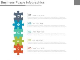 Five Staged Business Puzzle Infographics And Icons Powerpoint Slides