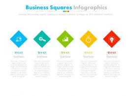 Five Staged Business Squares Infographics Powerpoint Slides
