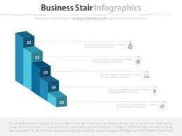 Five Staged Business Stair Infographics Flat Powerpoint Design