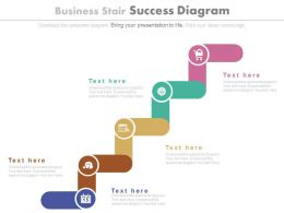 Five Staged Business Stair Success Diagram Powerpoint Slides