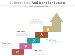 Five Staged Business Steps And Icons For Success Powerpoint Slides