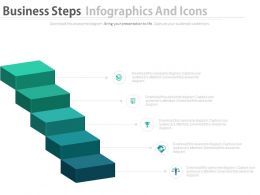 Five Staged Business Steps Infographics And Icons Powerpoint Slides