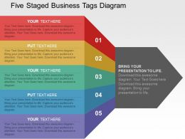 five_staged_business_tags_diagram_flat_powerpoint_design_Slide01