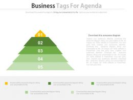 Five Staged Business Tags For Agenda Powerpoint Slides