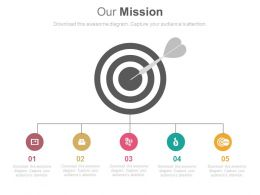Five Staged Business Target And Mission Diagram Powerpoint Slides