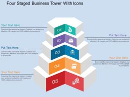 Five Staged Business Tower With Icons Flat Powerpoint Design