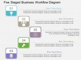 Five Staged Business Workflow Diagram Flat Powerpoint Design