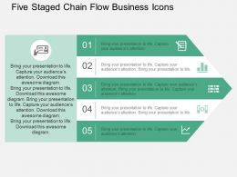 Five Staged Chain Flow Business Icons Flat Powerpoint Design