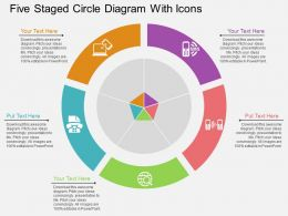 Five Staged Circle Diagram With Icons Flat Powerpoint Desgin