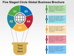 Five Staged Circle Global Business Brochure Flat Powerpoint Design