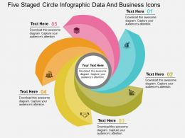Five Staged Circle Infographic Data And Busibess Icons Flat Powerpoint Design