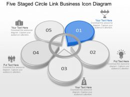 Five Staged Circle Link Business Icon Diagram Powerpoint Template Slide