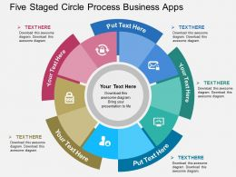 Five Staged Circle Process Business Apps Flat Powerpoint Design