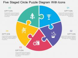 five_staged_circle_puzzle_diagram_with_icons_flat_powerpoint_design_Slide01