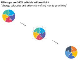 Five Staged Circle Puzzle Diagram With Icons Flat Powerpoint Design