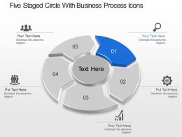 Five Staged Circle With Business Process Icons Powerpoint Template Slide