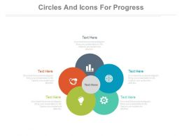Five Staged Circles And Icons For Progress Flow Flat Powerpoint Design