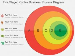 Five Staged Circles Business Process Diagram Flat Powerpoint Design