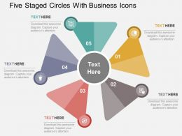 Five Staged Circles With Business Icons Flat Powerpoint Design