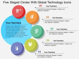 Five Staged Circles With Global Technology Icons Flat Powerpoint Design
