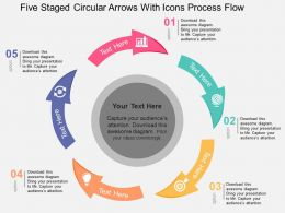 Five Staged Circular Arrows With Icons Process Flow Flat Powerpoint Design