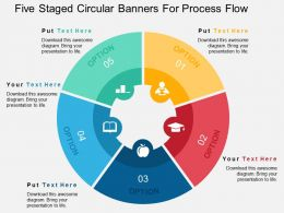 Five Staged Circular Banners For Process Flow Flat Powerpoint Design