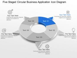 Five Staged Circular Business Application Icon Diagram Powerpoint Template Slide