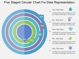 Five Staged Circular Chart For Data Representation Flat Powerpoint Design