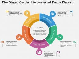 Five Staged Circular Interconnected Puzzle Diagram Flat Powerpoint Design
