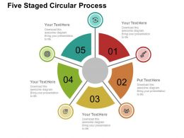 Five Staged Circular Process Flat Powerpoint Design