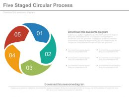 Five Staged Circular Process Flow Diagram Powerpoint Slides