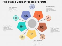 Five Staged Circular Process For Data Flat Powerpoint Design