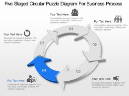 Five Staged Circular Puzzle Diagram For Business Process Powerpoint Template Slide