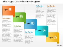 Five Staged Colored Banner Diagram Powerpoint Template