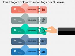 Five Staged Colored Banner Tags For Business Flat Powerpoint Design