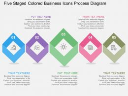 Five Staged Colored Business Icons Process Diagram Flat Powerpoint Design