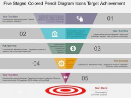 Five Staged Colored Pencil Diagram Icons Target Achievement Flat Powerpoint Design