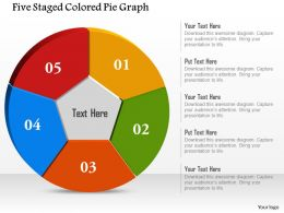 Five Staged Colored Pie Graph Powerpoint Template