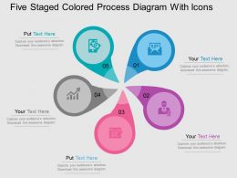 Five Staged Colored Process Diagram With Icons Flat Powerpoint Desgin
