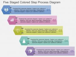 Five Staged Colored Step Process Diagram Flat Powerpoint Design