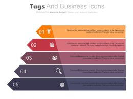 Five Staged Colored Tags And Business Icons Powerpoint Slides