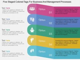 Five Staged Colored Tags For Business And Management Processes Flat Powerpoint Desgin