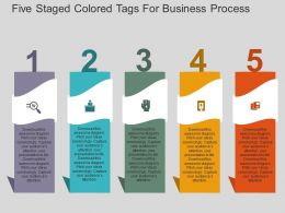 Five Staged Colored Tags For Business Process Flat Powerpoint Design