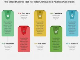 Five Staged Colored Tags For Target Achievement And Idea Generation Flat Powerpoint Design