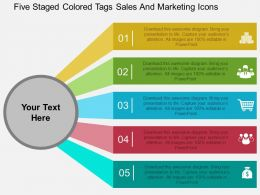 Five Staged Colored Tags Sales And Marketing Icons Flat Powerpoint Design