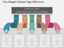 Five Staged Colored Tags With Icons Flat Powerpoint Design