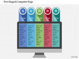 Five Staged Computer Tags Flat Powerpoint Design