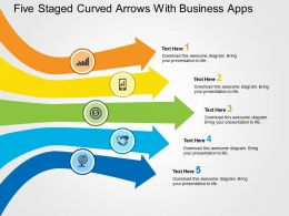 Five Staged Curved Arrows With Business Apps Flat Powerpoint Design