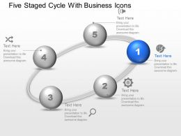 Five Staged Cycle With Business Icons Powerpoint Template Slide